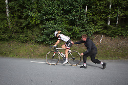 Floortje Mackaaij (NED) of Team Sunweb gets some help after having a mechanical on Stage 1 of the Ladies Tour of Norway - a 101.5 km road race, between Halden and Mysen on August 18, 2017, in Ostfold, Norway. (Photo by Balint Hamvas/Velofocus.com)