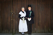 Josephine is wearing the Traditional Bridal Costume (Flämisch) and Constantin the Traditional Groom Costume in Niedergörsdorf (Brandenburg), Germany on June 11, 2017.