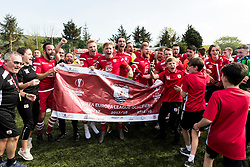 NEWTOWN, WALES - Sunday, May 6, 2018: Connahs Quay Nomads players and staff celebrate qualifying for the UEFA Europa League following a 4-1 victory in the FAW Welsh Cup Final between Aberystwyth Town and Connahs Quay Nomads at Latham Park. (Pic by Paul Greenwood/Propaganda)