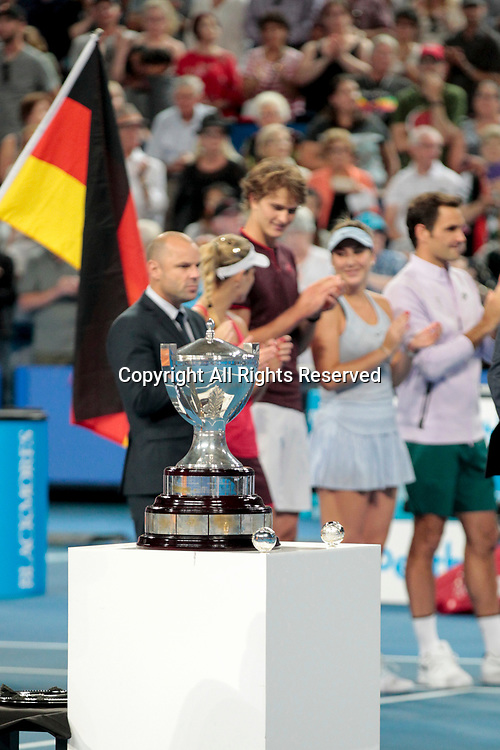 6th January 2018, Perth Arena, Perth, Australia; MasterCard Hopman Cup Tennis Final; players line up for the presentation of the Hopman Cup