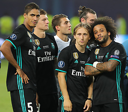 August 8, 2017 - Skopje, Macedonia - Marcelo of Real Madrid, Luka Modric of Real Madrid and others players of Real Madrid celebrate victory after the UEFA Super Cup final between Real Madrid and Manchester United at the Philip II Arena on August 8, 2017 in Skopje, Macedonia. (Credit Image: © Ahmad Mora/NurPhoto via ZUMA Press)