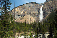 Takakkaw Falls, in Yoho National Park, is the 2nd highest measured waterfall in Canada at 1260ft tall. It's fed by the Daly Glacier from the Waputik Icefield.