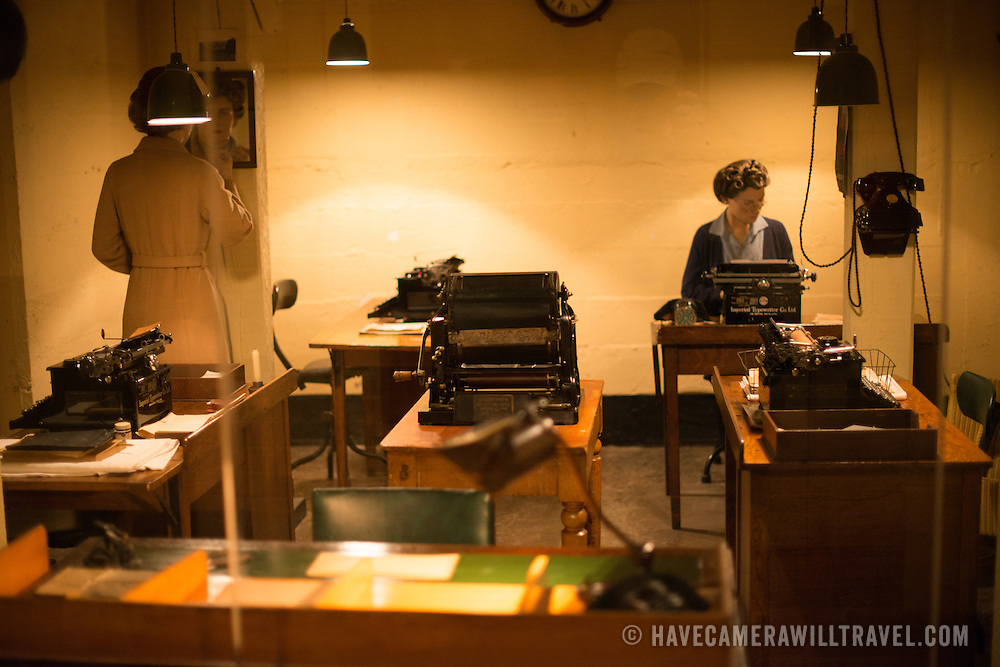 A typist room at the Churchill War Rooms in London. The museum, one of five branches of the Imerial War Museums, preserves the World War II underground command bunker used by British Prime Minister Winston Churchill. Its cramped quarters were constructed from a converting a storage basement in the Treasury Building in Whitehall, London. Being underground, and under an unusually sturdy building, the Cabinet War Rooms were afforded some protection from the bombs falling above during the Blitz.