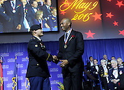 New York Yankees legend Mariano Rivera, right, is presented with the Ellis Island Medal of Honor at the National Ethnic Coalition of Organizations' annual awards ceremony on Ellis Island, Saturday, May 9, 2015.  NECO honored 101 recipients, including Rivera, journalist Meredith Vieira, Washington, D.C. Police Chief Cathy L. Lanier and 11 members of the U.S. military.  NECO's mission is to honor and preserve the diversity of the American people and to foster tolerance, respect and understanding among religious and ethnic groups. (Photo by Diane Bondareff/Invision for NECO/AP Images)