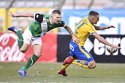 February 17, 2018 - Brussels, BELGIUM - Cercle's Benjamin Delacourt and Union's Mathias Fixelles fight for the ball during a soccer game between Union Saint-Gilloise and Cercle Brugge, in Brussels, Saturday 17 February 2018, on day 27 of the division 1B Proximus League competition of the Belgian soccer championship. BELGA PHOTO YORICK JANSENS (Credit Image: © Yorick Jansens/Belga via ZUMA Press)