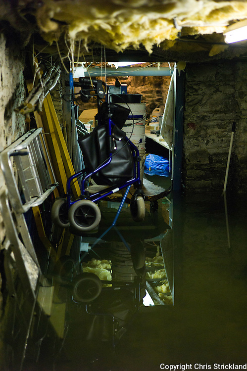 Hawick, Scotland, UK. 6th December 2015. A cellar full of water after overnight flooding in Hawick. The house is fitted with a pump in the cellar saving the property from further damage. Hawick has been flooded several times in recent years.