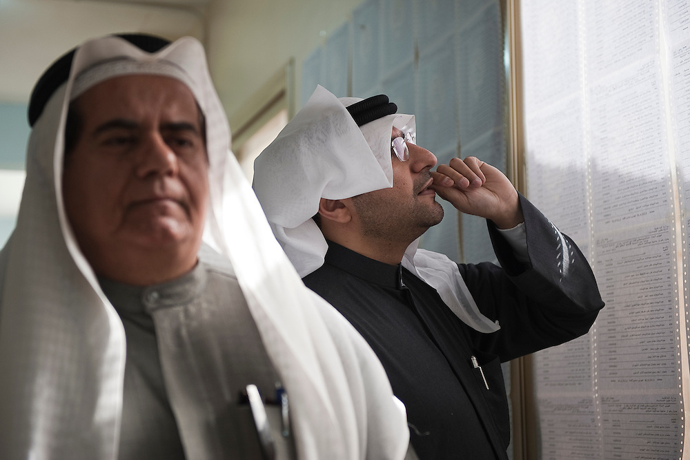 Kuwaiti voter searches for his name and voter ID number at a polling station in Kuwait City ahead of voting in the February 2 parliamentary elections. A total of 400,296 Kuwaiti men and women are eligible to vote to choose from among some 285 candidates, including more than 20 women candidates, for a new 50-seat parliament.