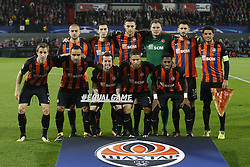 (TOP ROW L-R), Yaroslav Rakitskiy of FC Shakhtar Donesk, Taras Stepanenko of FC Shakhtar Donesk, Ivan Ordets of FC Shakhtar Donesk Andriy Pyatov of FC Shakhtar Donesk, Facundo Ferreyra of FC Shakhtar Donesk, Taison of FC Shakhtar Donesk, (BOTTOM ROW L-R), Bohdan Butko of FC Shakhtar Donesk, Ismaily of FC Shakhtar Donesk, Bernard of FC Shakhtar Donesk, Marlos of FC Shakhtar Donesk, Fred of FC Shakhtar Donesk during the UEFA Champions League group F match between Feyenoord Rotterdam and Shakhtar Donetsk at the Kuip on October 17, 2017 in Rotterdam, The Netherlands