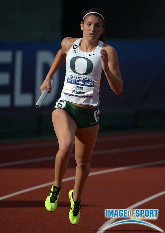 Jun 7, 2013; Eugene, OR, USA; Phyllis Francis runs the anchor leg on the Oregon womens 4 x 400m relay that was the top qualifier at 3:28.15 in the 2013 NCAA Championships at Hayward Field. Photo by Kirby Lee