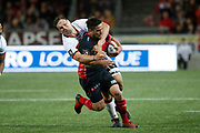Benjamin Botica of Oyonnax and Etienne Oosthuizen of Lyon during the French Championship Top 14 Rugby Union match between US Oyonnax Rugby and Lyon OU on April 28, 2018 at Charles Mathon stadium in Oyonnax, France - Photo Romain Biard / Isports / ProSportsImages / DPPI