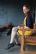 Julia Bluhm, the 14-year-old creator of a popular online petition aimed at curbing digitally altered fashion photos, sits for a portrait at her home in Waterville, Maine on Thursday, May 10, 2012.  Craig Dilger for The New York Times