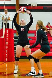 12 September 2019:    Fieldcrest Knights at Heyworth Hornets Girls Volleyball at Heyworth Illinois