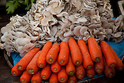 Luang Prabang, Laos. Morning food market. Carrots and mushrooms.