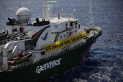 MAURITIUS 5MAY13 - Aerial view of the Greenpeace ship Esperanza en route to to Grand Baie in Mauritius.<br /> <br /> Greenpeace will deliver a message to the IOTC (Indian Ocean Tuna Commission) delegates highlighting the concerns of unsustainable fishing practices in the Indian Ocean.<br /> <br /> <br /> <br /> jre/Photo by Jiri Rezac / Greenpeace