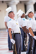 Members of the Citadel Military College corps of cadets cheer following the first Friday Dress Parade on September 6, 2013 in Charleston, South Carolina. The Friday Dress Parade is a tradition at the Citadel going back to 1843.