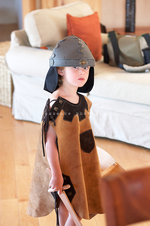 Eno Little plays around in his knight and armor costume