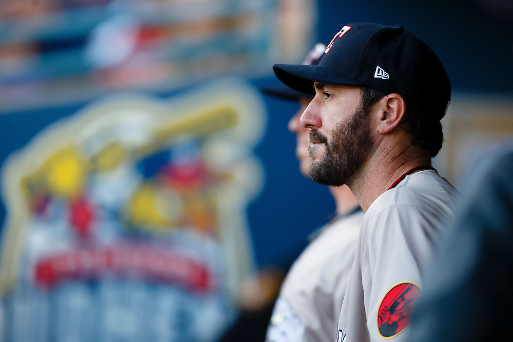 Detroit Tigers pitcher Justin Verlander, playing for the Toledo Mud Hens in a rehab start, watches from the dugout after being relieved in the sixth inning during a Triple-A baseball game against the Columbus Clippers in Toledo, Ohio, Saturday, June 6, 2015. (AP Photo/Rick Osentoski)