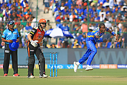April 29, 2018 - Jaipur, Rajasthan, India - Rajasthan Royals bowler Jofra Archer bowls during the IPL T20 match against Sunrisers  Hyderabad at Sawai Mansingh Stadium in Jaipur on 29th April,2018. (Credit Image: © Vishal Bhatnagar/NurPhoto via ZUMA Press)