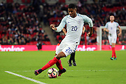 England striker Marcus Rashford (20) dribbling and on the attack during the Friendly match between England and Spain at Wembley Stadium, London, England on 15 November 2016. Photo by Matthew Redman.