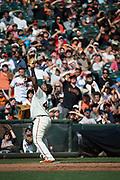 San Francisco Giants third baseman Pablo Sandoval (48) looks for a Colorado Rockies pop fly at AT&T Park in San Francisco, California, on September 20, 2017. (Stan Olszewski/Special to S.F. Examiner)