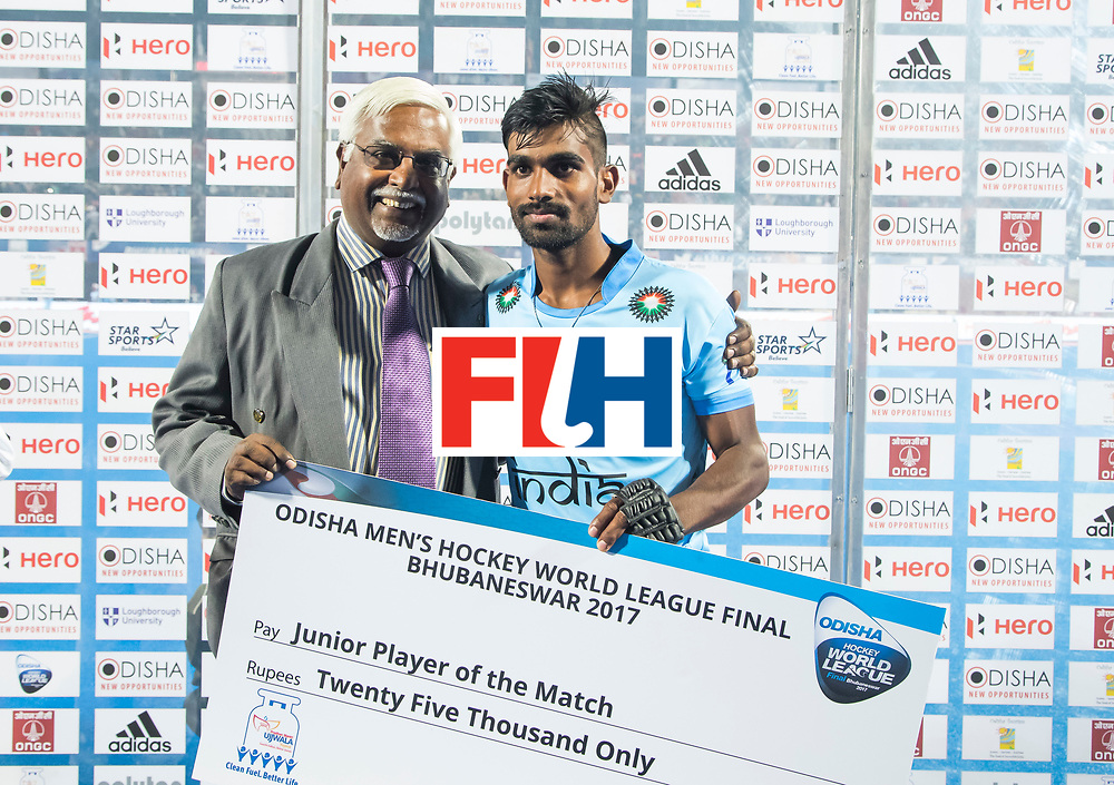 BHUBANESWAR - The Odisha Men's Hockey World League Final . Match ID 13 , Quarter Final, . Belgium v India   . Junior Player of the match, Sunil Sowmarpet (Ind)   WORLDSPORTPICS COPYRIGHT  KOEN SUYK
