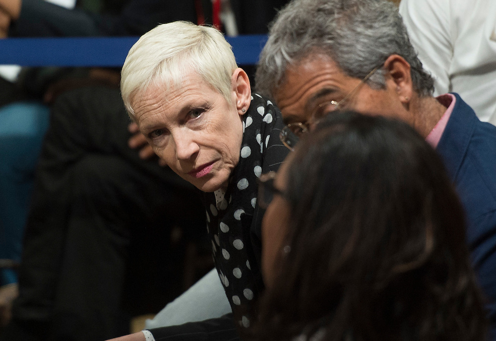 British singer Annie Lennox attends a town hall meeting hosted by President Barack Obama at the Lindley Hall in London, Britain, 23 April 2016. US President Obama is on a three day visit to the UK. EPA/WILL OLIVER