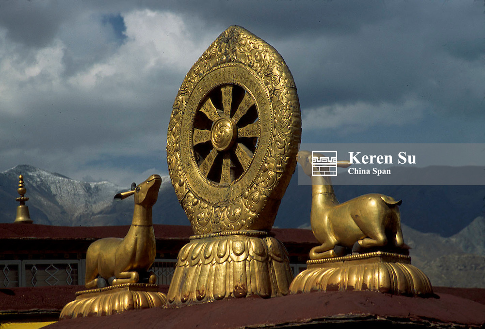 The symbol of reincarnation on the roof of the Jokhang Monastery with mountain range behind, Lhasa, Tibet, China