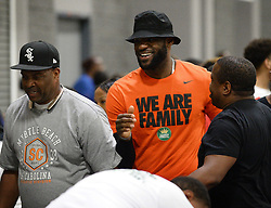 July 21, 2017 - Charlotte, NC, USA - NBA star LeBron James, center, smiles as he is greeted by fans following his son, LeBron Jr.'s tournament game at the Charlotte Convention Center in Charlotte, N.C., on Friday, July 21, 2017. (Credit Image: © Jeff Siner/TNS via ZUMA Wire)