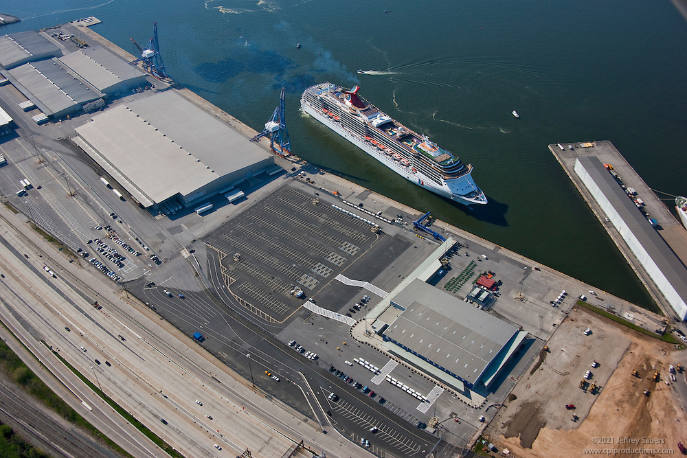 Aerial image of the Carnival Pride docking at the Maryland Cruise Terminal in April onn inaugural Sail