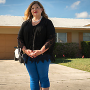 JUNE 25, 2017--DELRAY BEACH, FLORIDA<br /> Samantha Herring stands in front of a halfway house in Delray Beach where her cousin, Peter San Angelo, 28, was living prior to his death from an opioid drug overdose on October of 2016. San Angelo was found dead inside a van in a house's driveway not far from here.  Herring is investigating his death. <br /> (Photo by Angel Valentin/Freelance)