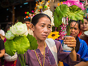 "05 APRIL 2015 - CHIANG MAI, CHIANG MAI, THAILAND: Tai Yai women lead a parade of Buddhist novices during the second day of the three day long Poi Song Long Festival in Chiang Mai. The Poi Sang Long Festival (also called Poy Sang Long) is an ordination ceremony for Tai (also and commonly called Shan, though they prefer Tai) boys in the Shan State of Myanmar (Burma) and in Shan communities in western Thailand. Most Tai boys go into the monastery as novice monks at some point between the ages of seven and fourteen. This year seven boys were ordained at the Poi Sang Long ceremony at Wat Pa Pao in Chiang Mai. Poy Song Long is Tai (Shan) for ""Festival of the Jewel (or Crystal) Sons.    PHOTO BY JACK KURTZ"