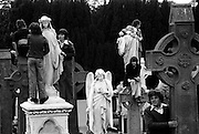 Onlookers trying to get the best vantage point in Glasnevin cemetery to view the burial  of Eamon de Valera.<br />