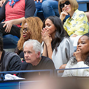 2019 US Open Tennis Tournament- Day Thirteen.    Meghan Markle, Duchess of Sussex reacts while in the team box of Serena Williams of the United States, during the Women's Singles Final on Arthur Ashe Stadium during the 2019 US Open Tennis Tournament at the USTA Billie Jean King National Tennis Center on September 7th, 2019 in Flushing, Queens, New York City.  (Photo by Tim Clayton/Corbis via Getty Images)