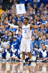 Kentucky guard Tyler Ulis rallies the crowd in the first half. <br /> <br /> The University of Kentucky hosted the LSU Tigers, Saturday, March 05, 2016 at Rupp Arena in Lexington .