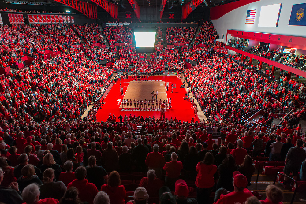 The Nebraska volleyball team is introduced prior to Nebraska's 3-0 win over Iowa at the Bob Devaney Sports Center in Lincoln, Neb. on Nov. 9, 2016. Photo by Aaron Babcock, Hail Varsity
