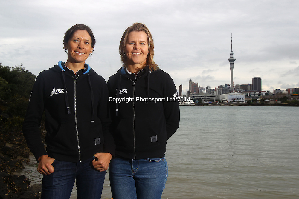 Womens 470 pair, Jo Aleh (L) and Polly Powrie, Yachting New Zealand media session ahead of the ISAF Sailing World Championships. Sailing NZ offices, Auckland. 19 August 2014. Photo: William Booth/www.photosport.co.nz