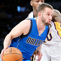 12 April 2014: Dallas Mavericks guard J.J. Barea (5) dribbles during the Dallas Mavericks 120-106 victory over the Los Angeles Lakers, at the Staples Center, Los Angeles, California, USA.