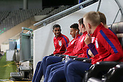 England Forward Marcus Rashford shares a joke with England Midfielder Jesse Lingard during a general stadium walk around before the Slovenia vs England FIFA World Cup Group F Qualifier match at Stadion Stozce, Ljubljana, Slovenia on 10 October 2016. Photo by Phil Duncan.