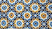 TETOUAN, MOROCCO - 7th April 2016 - Moroccan doorway zelij mosaic tiling, Tetouan Medina, Rif region of Northern Morocco.
