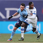 NEW YORK, NEW YORK - March 18: Ambroise Oyongo #2 of Montreal Impact in action during the New York City FC Vs Montreal Impact regular season MLS game at Yankee Stadium on March 18, 2017 in New York City. (Photo by Tim Clayton/Corbis via Getty Images)