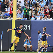 Matt Miazga, NYCFc, celebrates after scoring his sides third goal during the New York City FC Vs New York Red Bulls, MSL regular season football match at Yankee Stadium, The Bronx, New York,  USA. 28th June 2015. Photo Tim Clayton