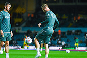 Leeds United defender Liam Cooper (6) and Leeds United defender Ben White (5) warming up during the EFL Sky Bet Championship match between Leeds United and West Bromwich Albion at Elland Road, Leeds, England on 1 October 2019.