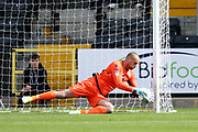 Morecambe goalkeeper Barry Roche (1) saves from a mis directed clearance from Morecambe defender Patrick Brough (3)  during the EFL Sky Bet League 2 match between Notts County and Morecambe at Meadow Lane, Nottingham, England on 9 September 2017. Photo by Simon Davies.