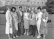 Rose of Tralee Contestants at Leinster House..1983.26.08.1983.08.26.1983.26th August 1983..Photograph of Mr Dick Spring,Tanaiste and Minister for Enviroment,.welcoming the Roses to Leinster House Dublin, for a Champagne reception. Included in the image is Mr Denis Mannaix,President of the Festival Committee and the following Roses..Cork, Miss Irene de Leeue..Limerick, Miss Noelle Westropp-Bennett..Kerry,Miss Peggy King..Tralee,Miss Martina Keane..Waterford Miss Brenda Hyland who was the eventual winner of the Title of Rose of Tralee.