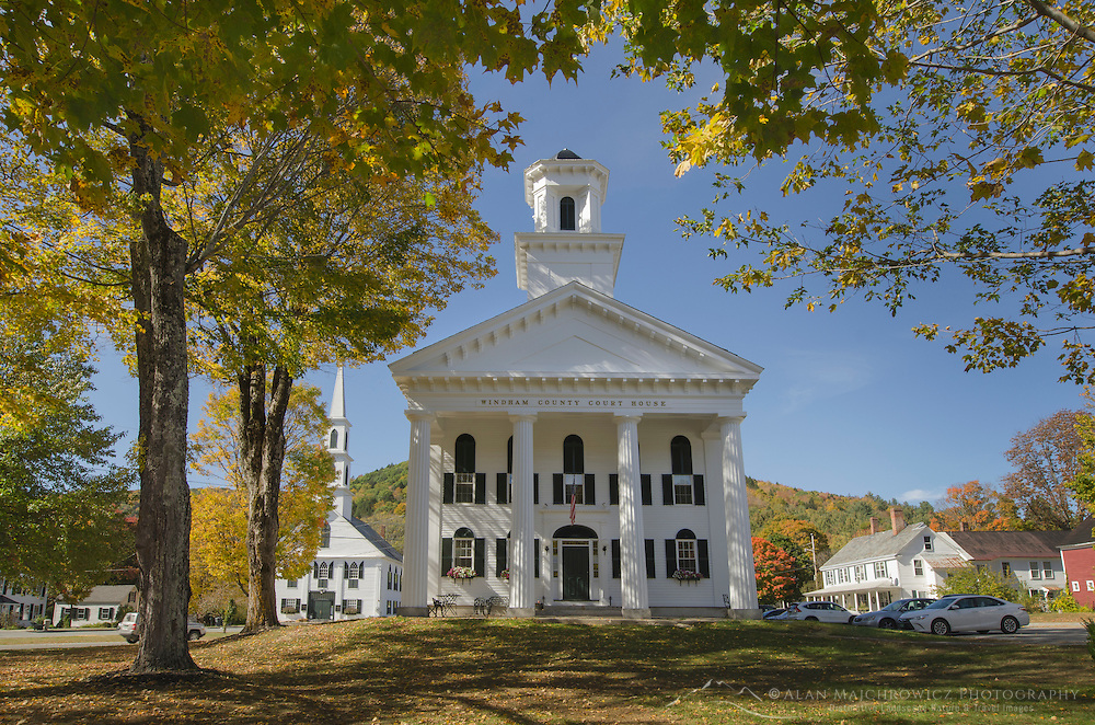 Windham County courthouse framed in golden fall foliage, Newfane, Vermont