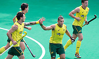 ANTWERP -   Chris Ciriello (m) has scored 0-3 for Australia  during  the hockeymatch   India vs Australia.  left Kieran Govers.  WSP COPYRIGHT KOEN SUYK