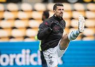 FODBOLD: Daniel Jørgensen (FC Helsingør) varmer op før kampen i ALKA Superligaen mellem FC Helsingør og AC Horsens den 18. februar 2018 på Right to Dream Park i Farum. Foto: Claus Birch.