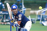 Sachin Tendulkar of Mumbai Indians during the Mumbai Indians training session ahead of their Karbonn Smart CLT20 2013 match against Highveld Lions held at the Sawai Mansingh Stadium in Jaipur on the 26th September 2013<br /> <br /> Photo by Shaun Roy-CLT20-SPORTZPICS <br /> <br /> Use of this image is subject to the terms and conditions as outlined by the BCCI. These terms can be found by following this link:<br /> <br /> http://www.sportzpics.co.za/image/I0000SoRagM2cIEc