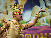 20 SEPTEMBER 2015 - SARIKA, NAKHON NAYOK, THAILAND:  A Thai dancer performs at the Ganesh festival at Shri Utthayan Ganesha Temple in Sarika, Nakhon Nayok. Ganesh Chaturthi, also known as Vinayaka Chaturthi, is a Hindu festival dedicated to Lord Ganesh. Ganesh is the patron of arts and sciences, the deity of intellect and wisdom -- identified by his elephant head. The holiday is celebrated for 10 days. Wat Utthaya Ganesh in Nakhon Nayok province, is a Buddhist temple that venerates Ganesh, who is popular with Thai Buddhists. The temple draws both Buddhists and Hindus and celebrates the Ganesh holiday a week ahead of most other places.   PHOTO BY JACK KURTZ