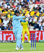 Joe Root of England plays an attacking shot during the ICC Cricket World Cup 2019 semi final match between Australia and England at Edgbaston, Birmingham, United Kingdom on 11 July 2019.